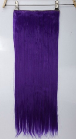 purple clip in hair extension piece